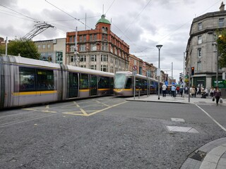 Dublin, Ireland - September 10, 2019: Casual view on the streets architecture of Dublin, Ireland Fotomurales