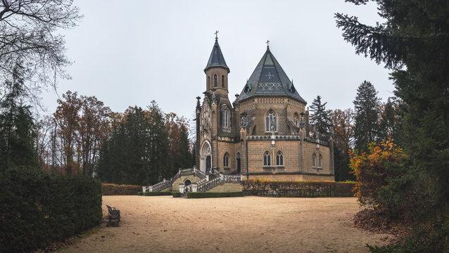 Trebon, Czech republic - 11 15 2020: The Schwarzenberg Tomb, tomb of the Schwarzenberg family