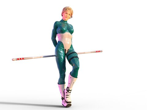 3D Photo of a Futuristic Young Woman Standing Holding a Quarterstaff