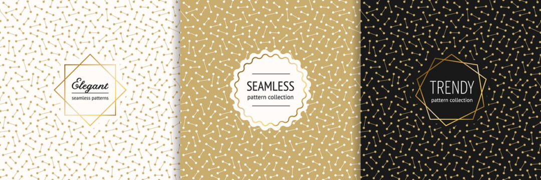 Vector golden geometric seamless pattern collection with stylish minimal badges. Elegant gold texture with lines and dots. Trendy minimalist background. Luxury premium design for print, banner, card