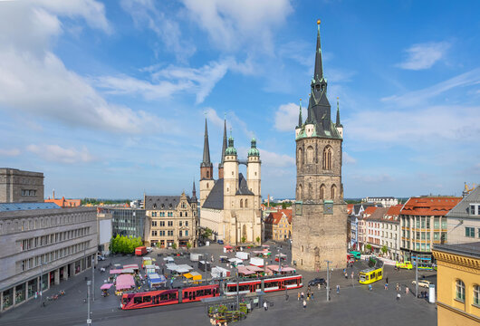Halle (Saale), Germany. Aerial view of Marktplatz square and Marktkirche church on sunny day