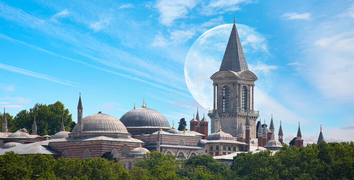 "Topkapi Palace with full moon - Istanbul Turkey ""Elements of this image furnished by NASA """