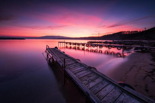 Magnificent long exposure sea sunset at the Black sea coast, Bulgaria