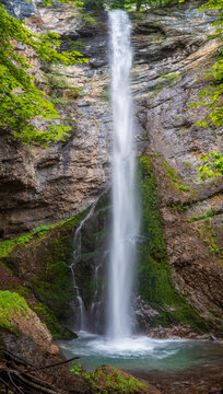Amazing spring view of the 54 m. Suvcharsko praskalo waterfall in Balkan Mountains, Bulgaria