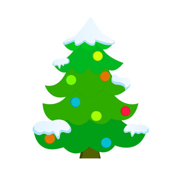 Snow covered Christmas tree, decorated with colorful balls. Vector illustration.