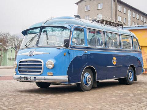 TALLINN, ESTONIA-APRIL 17, 2018: 1955 Bus Setra S6 on the city streets