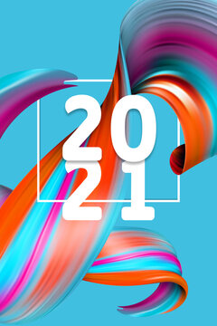 Happy New 2021 Year. Holiday wavy fluid multicolored lines and lettering on blue background, vertical flyer. Winter celebration mood, greeting card or offer in modern and stylish design.