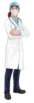 A female doctor woman medical healthcare professional character with arms folded and serious but caring look. Wearing PPE mask