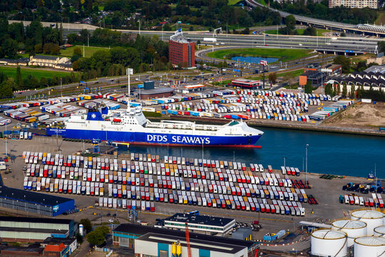 Ro-Ro c(roll-on/roll-off) cargo ship from DFDS Seaways in the Port of Rotterdam. The Netherlands - September 8, 2019