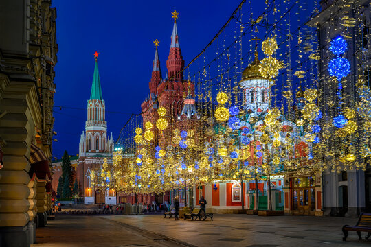 Nikolskaya Street with christmas decoration in Moscow, Russia. Architecture and landmarks of Moscow. Cityscape of Moscow