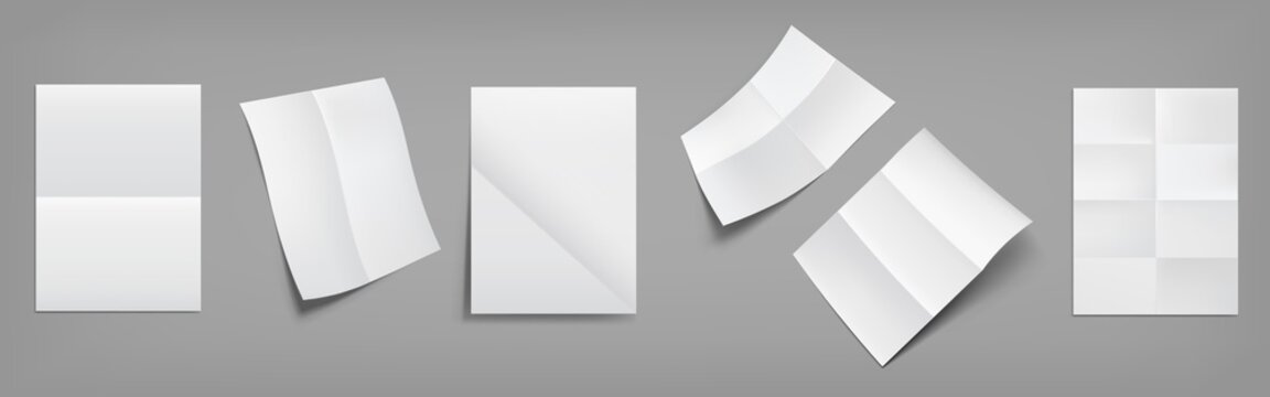 Folded blank posters, white paper sheets with crossing creases top and perspective view. Vector realistic mockup of empty wrinkled leaflet, flyer, document pages with folds isolated on gray background