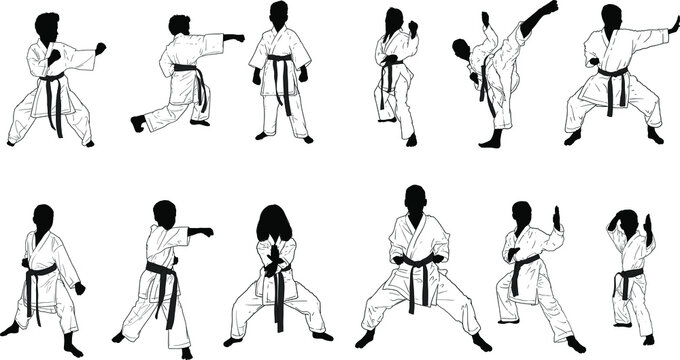 a dozen silhouettes of karate kids in kimonos in different defensive and attacking positions
