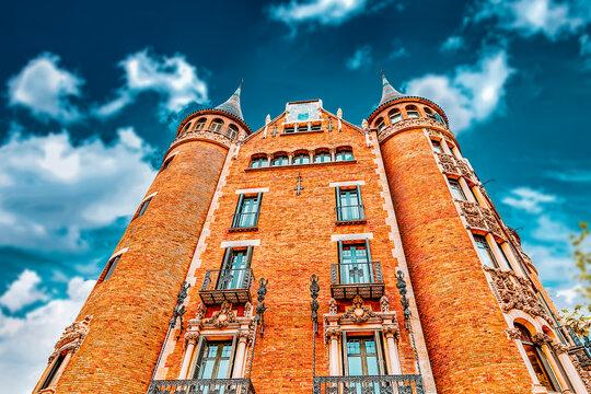 Сasa Serra (Building with spires) in centre of  Barcelona, Catalunia, Spain.