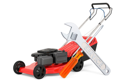Service and repair of lawn mower, 3D rendering