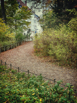 Munich Englischer Garten in autumn, one of the many entrance of the park from the city to take a walk in the nature