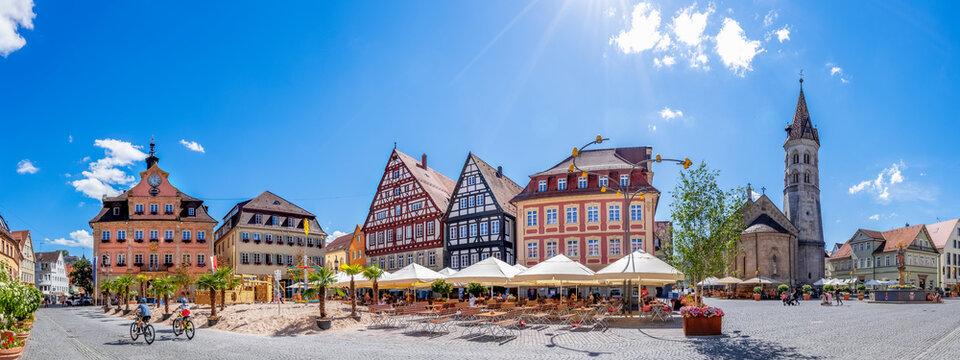 Panorama, Marktplatz, Schwaebisch Gmuend, Baden-Württemberg, Deutschland