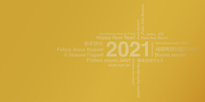 golden happy new year 2021 card in many different languages, greeting card with word cloud vector illustration