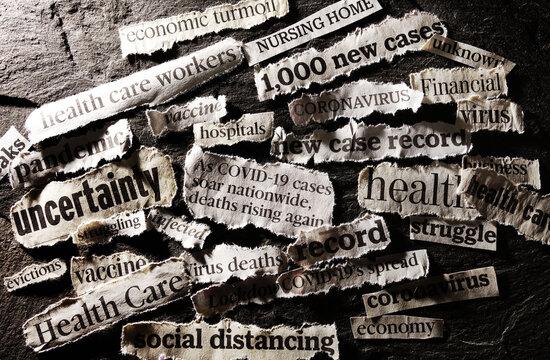 Coronavirus and economy related news headlines