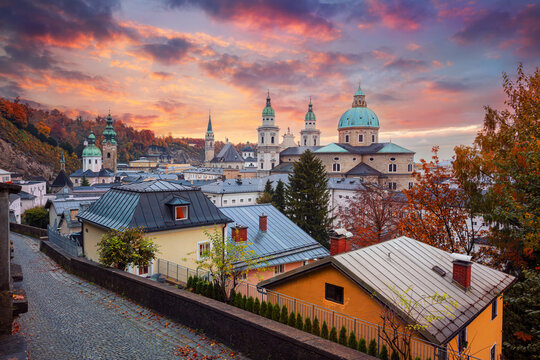 Salzburg, Austria. Cityscape image of the Salzburg, Austria with Salzburg Cathedral at beautiful autumn sunset.
