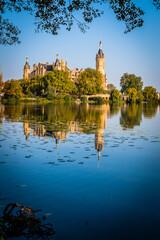 Schwerin Castle is reflected in the water