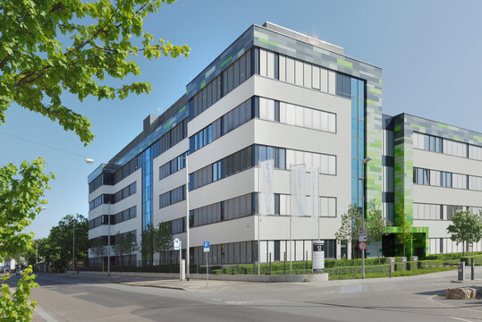 MAINZ, GERMANY - APRIL 25, 2020: The street view of the BioNtech SE building. The German biotechnology company is researching a vaccine against Covid-19.