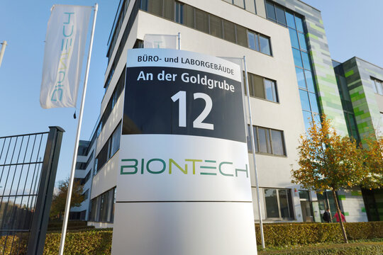 Mainz, Germany - November 12, 2020: The german biotechnology company Biontech conducts research in the field of developing a vaccine against Covid-19.
