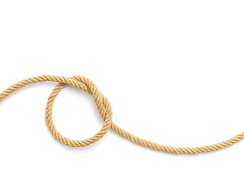 Knot made of rope on white background