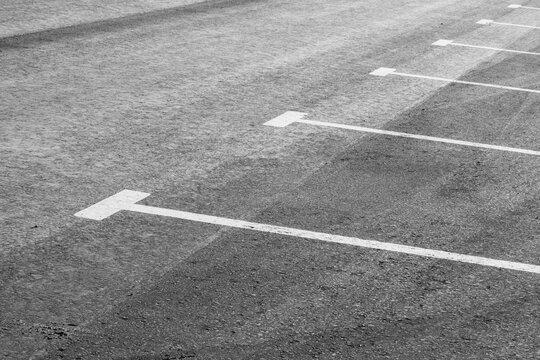 White road markings of parking spaces on gray asphalt