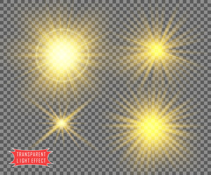 Light. The sun is yellow and transparent. Design kit with transparent effect. Vector objects on an isolated background.