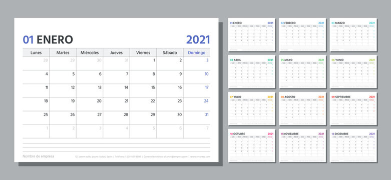 Spanish planner for 2021 year. Calendar template. Week starts Monday. Vector. Table schedule grid. Calender layout with 12 month. Yearly stationery organizer. Horizontal monthly diary. Illustration.