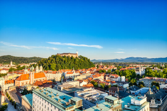 Ljubljana City Center Aerial View with Ljubljana Castle in the Background during a Sunny Day