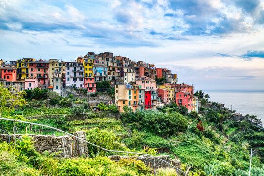 Corniglia Village at Sunrise, Cinque Terre, Italy