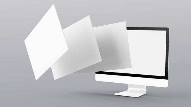 floating screens mock up 3d rendering