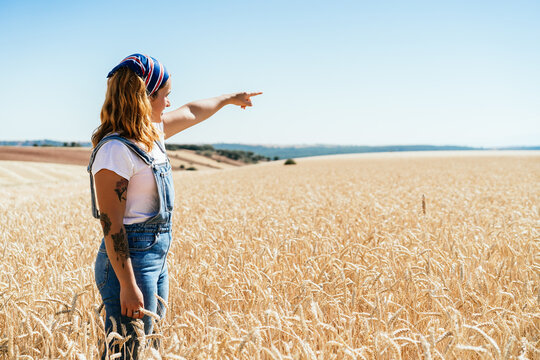 Side view of female farmer in denim clothes standing in wheat field in countryside and pointing away