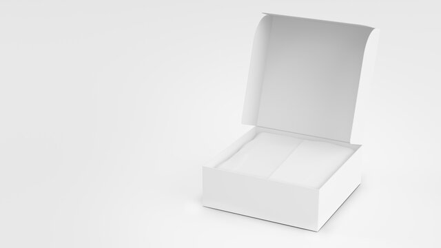 open mailing box with wrapping paper mock up