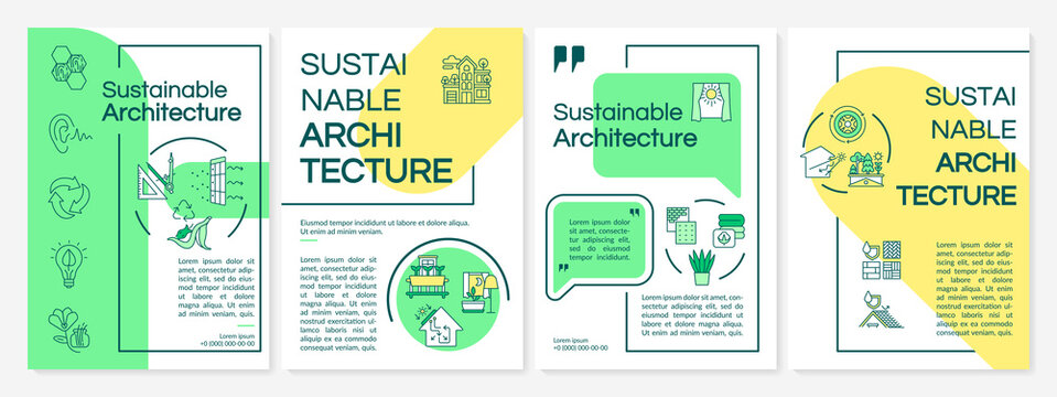 Sustainable architecture and building brochure template. Flyer, booklet, leaflet print, cover design with linear icons. Vector layouts for magazines, annual reports, advertising posters
