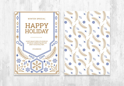 Happy Holiday Winter Flyer Layout with Ornate Christmas Elements