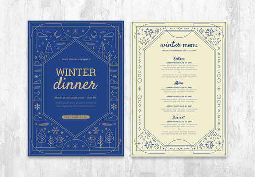 Ornate Winter Menu Flyer Layout with Seasonal Illustrations