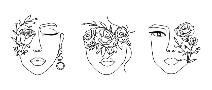 Women' faces in one line art style with flowers and leaves.Continuous line art in elegant style for prints, tattoos, posters, textile, cards etc. Beautiful woman face Vector illustration