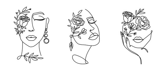 Obraz Elegant women's faces in one line art style with flowers.Continuous line art in minimalistic style for prints, tattoos, posters, textile, cards etc. Beautiful female fashion face Vector illustration - fototapety do salonu