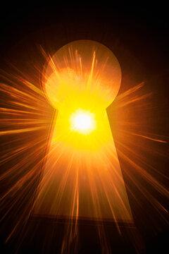 Sun shining into keyhole.
