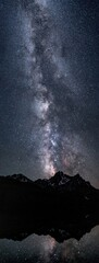 Milky way and stars over McGown Peak, Sawtooth mountains reflecting in Stanley Lake, ID.