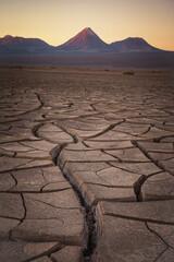 cracks and volcanoes in the atacama desert
