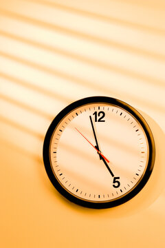 A clock showing only 5pm quitting time, deadline.