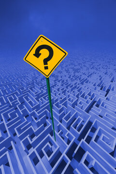 Maze with question mark road sign.