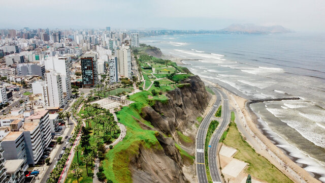 Aerial view of the coast of Miraflores in Lima - Peru.