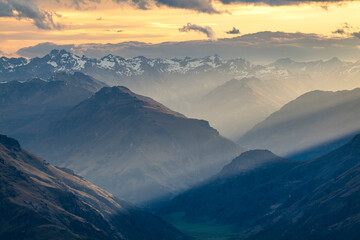 Alpine sunset over the mountains in the Southern Alps of New Zealand