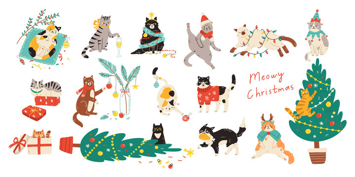 Merry Christmas! Bundle of cats celebrating winter holiday. Vector illustration of cute pets wearing costumes, climbing Christmas tree and being naughty in flat cartoon style. Elements are isolated.