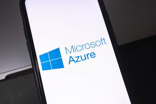 Microsoft Azure logo on smartphone screen. Rostov-on-Don, Russia. 5 February 2020