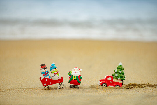 Christmas on summer sea background. Tropical paradise, ocean beach texture for new year banner.